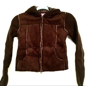 Say What? Brown Suede Front, Sweater Back Jacket